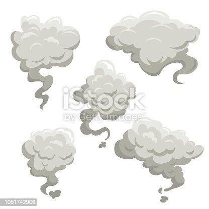 Fog or smoke after explosion set. Cartoon flat simple gradient style vector illustrations. Best for game kid comic design. EPS10 + JPEG preview/