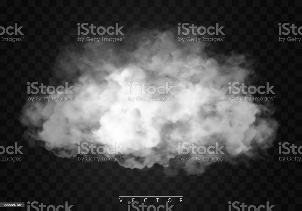 Fog or smoke isolated transparent special effect. White vector cloudiness, mist or smog background. vector art illustration