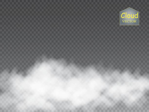 fog or smoke isolated transparent special effect. white vector cloudiness, mist or smog background. vector - туман stock illustrations