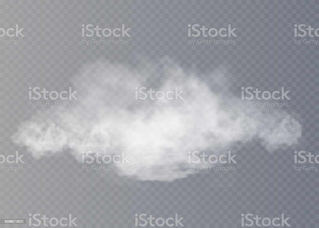 Fog or smoke isolated transparent special effect. White vector cloudiness, mist or smog background. Vector illustration vector art illustration