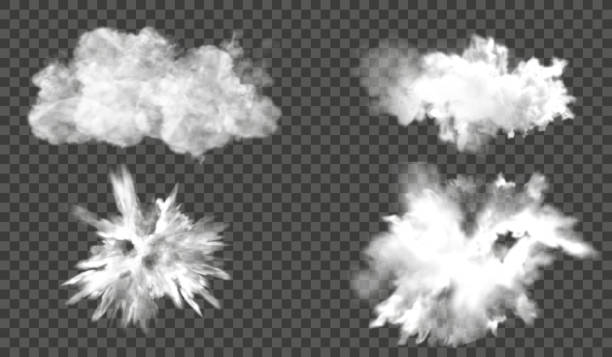 eps 10. fog or smoke isolated transparent special effect. white vector cloudiness, mist or smog background. vector illustration - smoke stock illustrations