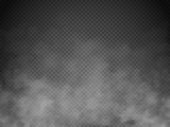 Fog or smoke isolated transparent special effect. White vector cloudiness