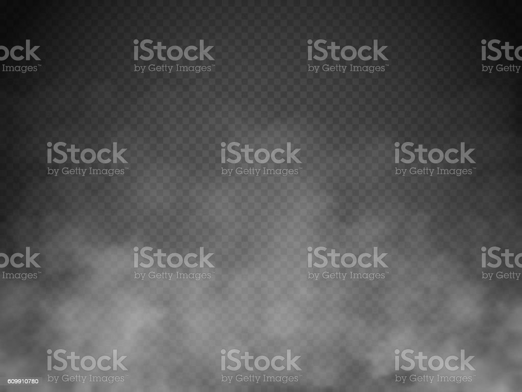 Fog or smoke isolated transparent special effect. White vector cloudiness vektör sanat illüstrasyonu