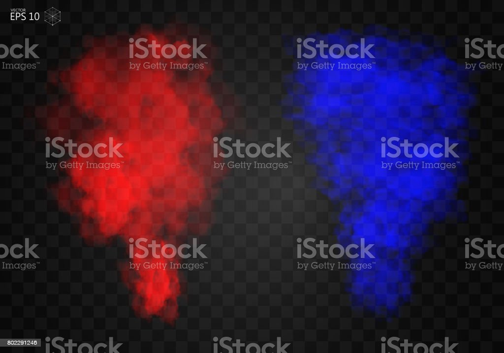 Fog or smoke red and blue isolated transparent special effect vector art illustration