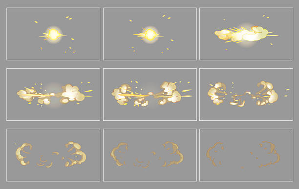 Fog side explosion special effect animation frames Fog side explosion special effect fx animation frames sprite sheet. Explosion frames for flash animation in games, video and cartoon. shooting a weapon stock illustrations