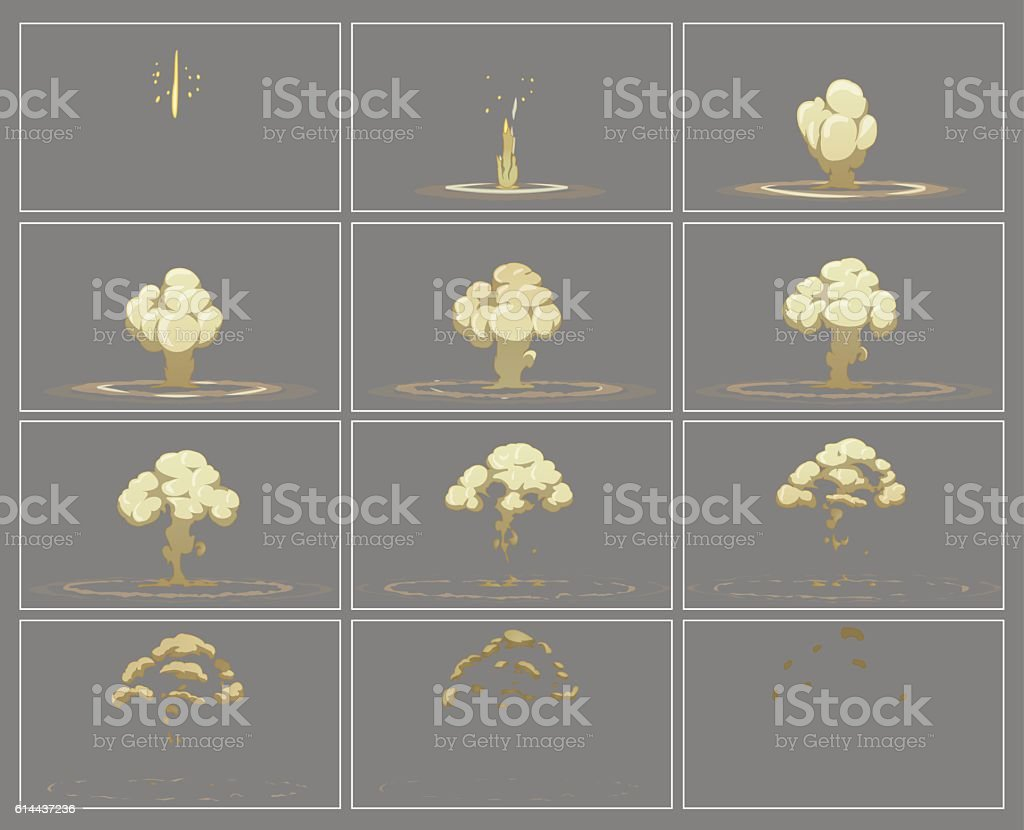 Fog vertical explosion special effect animation frames vector art illustration