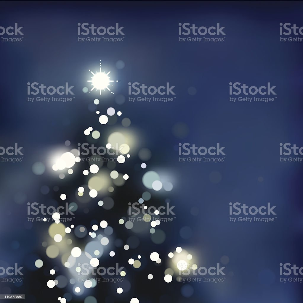 Foggy / Blurry xmas tree with lights. EPS8 vector art illustration