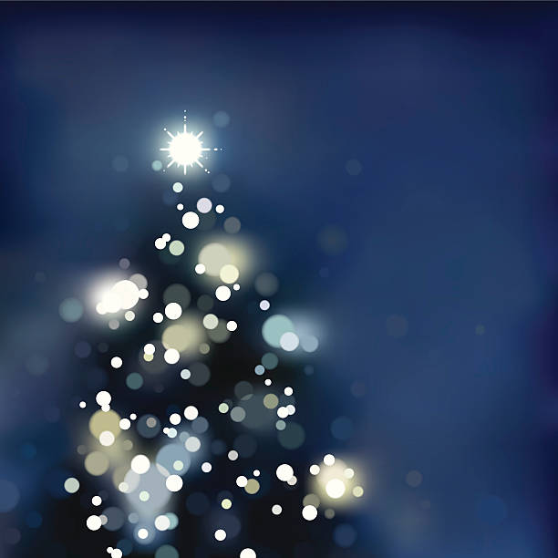 Foggy / Blurry xmas tree with lights. EPS8 vector art illustration