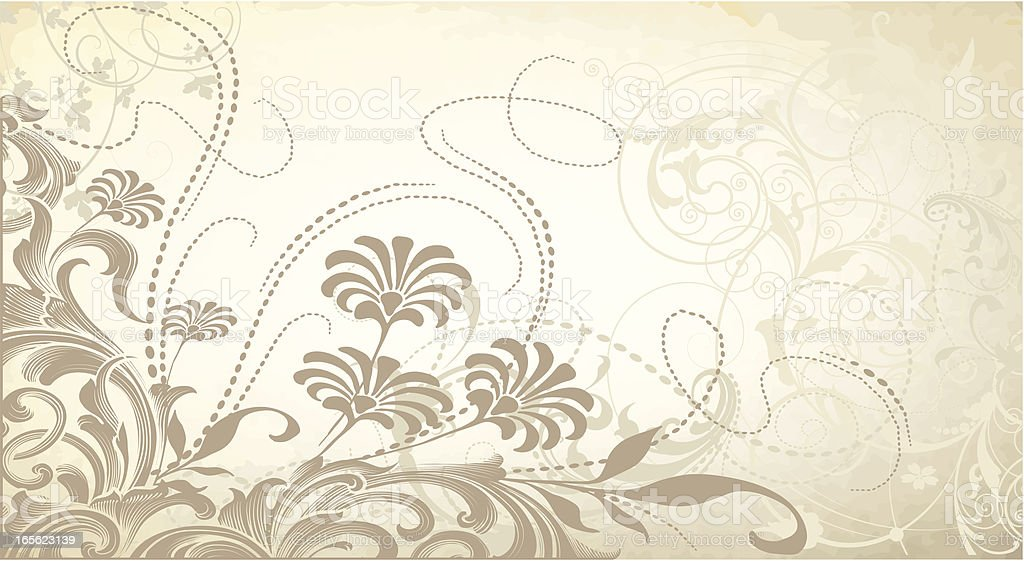 Foggy Floral Banner scrollwork and flowers royalty-free stock vector art