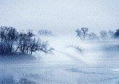 Mezzotint montage of a foggy lake and a woman's eye.