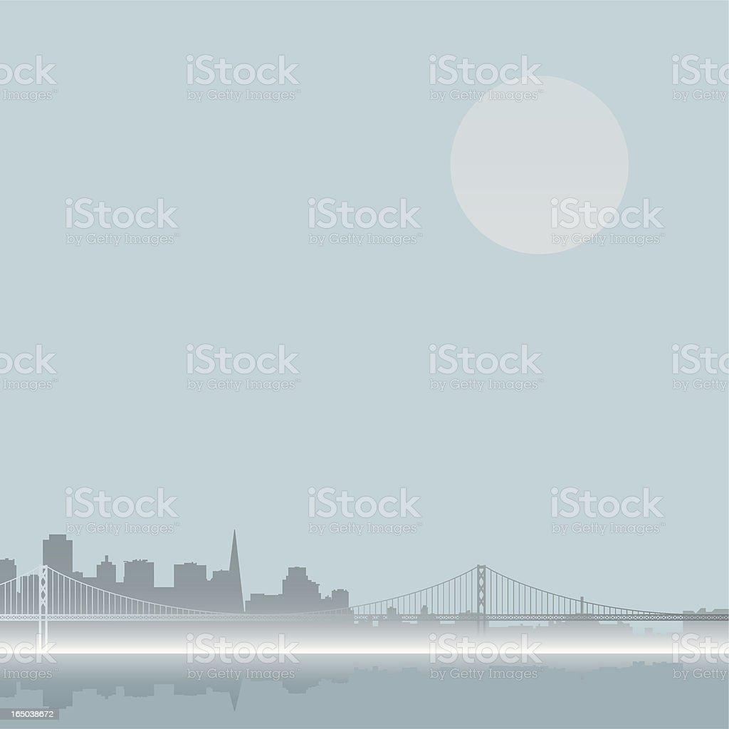 foggy san francisco skyline royalty-free stock vector art
