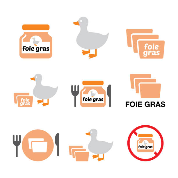 illustrations, cliparts, dessins animés et icônes de foie gras, canard ou oie vecteur icônes de couleur ensemble - alimentation, industrie de la restauration - foie gras