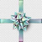 Vector Christmas foil realistic bow. Isolated gift bow with ribbons