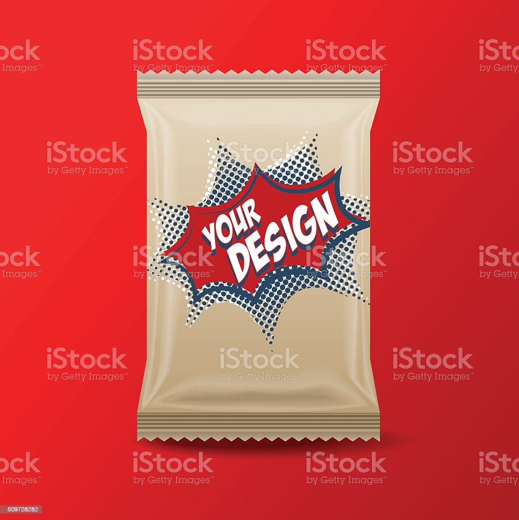 Foil Food Snack brown pack vector art illustration