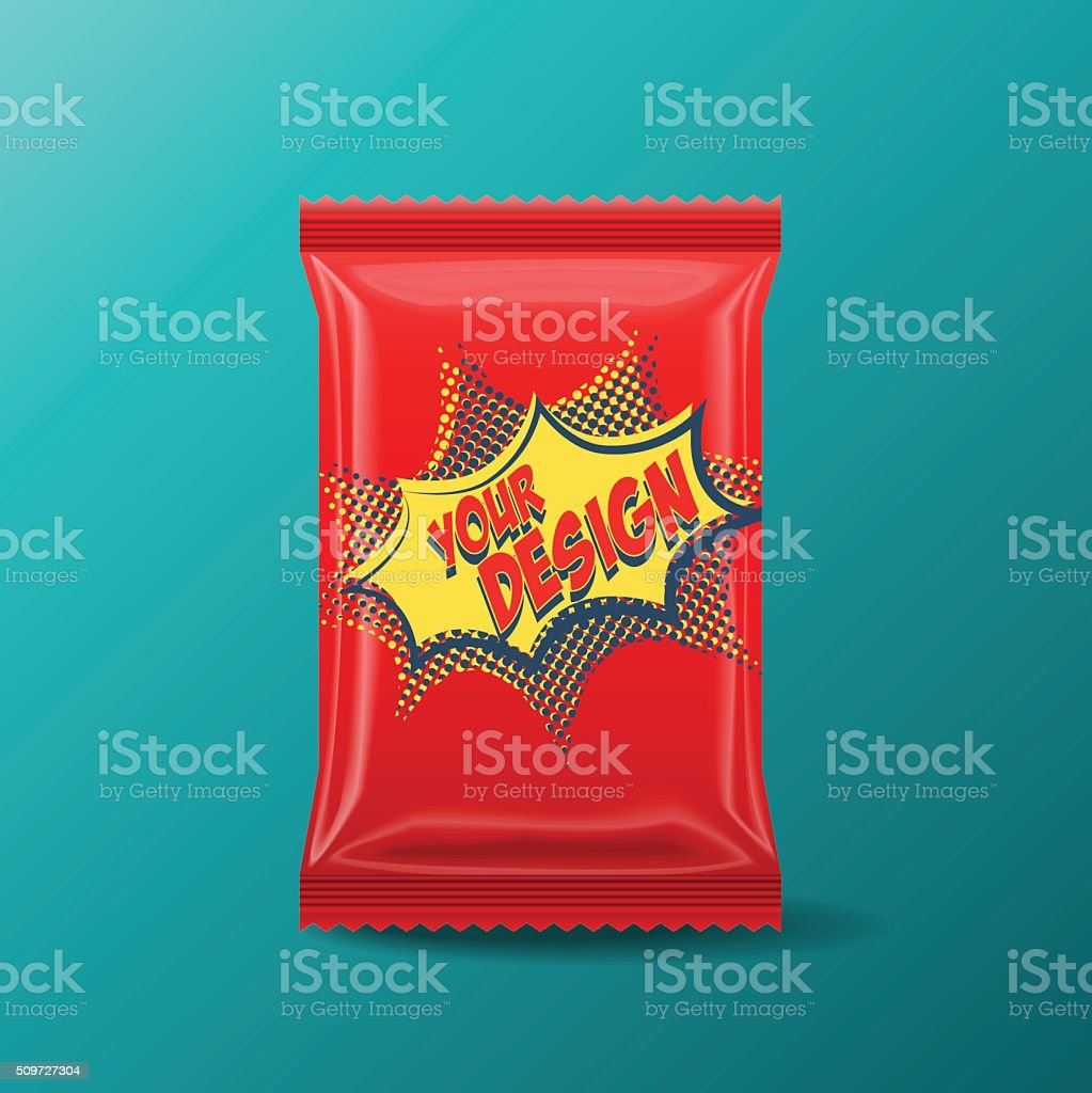Foil Food Snack pack vector art illustration