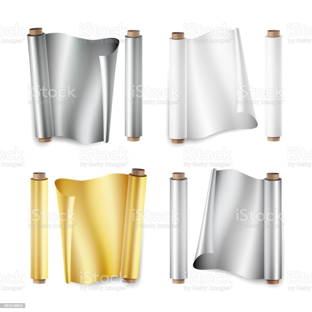 Foil Roll Set Vector. Aluminium, Metal, Gold, Baking Paper. Close Up Top View. Opened And Closed. Realistic Illustration Isolated On White vector art illustration