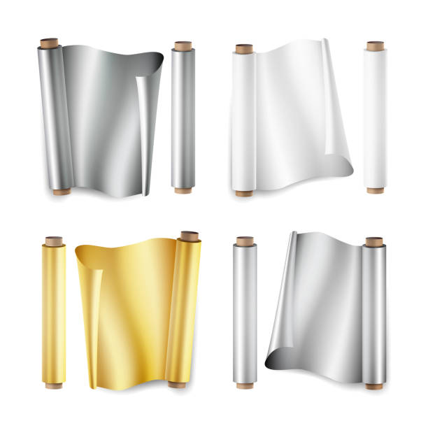 foil roll set vector. aluminium, metal, gold, baking paper. close up top view. opened and closed. realistic illustration isolated on white - aluminum foil roll stock illustrations, clip art, cartoons, & icons
