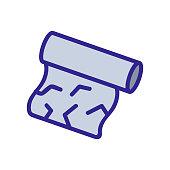 foil roll, wrinkled icon vector. foil roll, wrinkled sign. color isolated symbol illustration