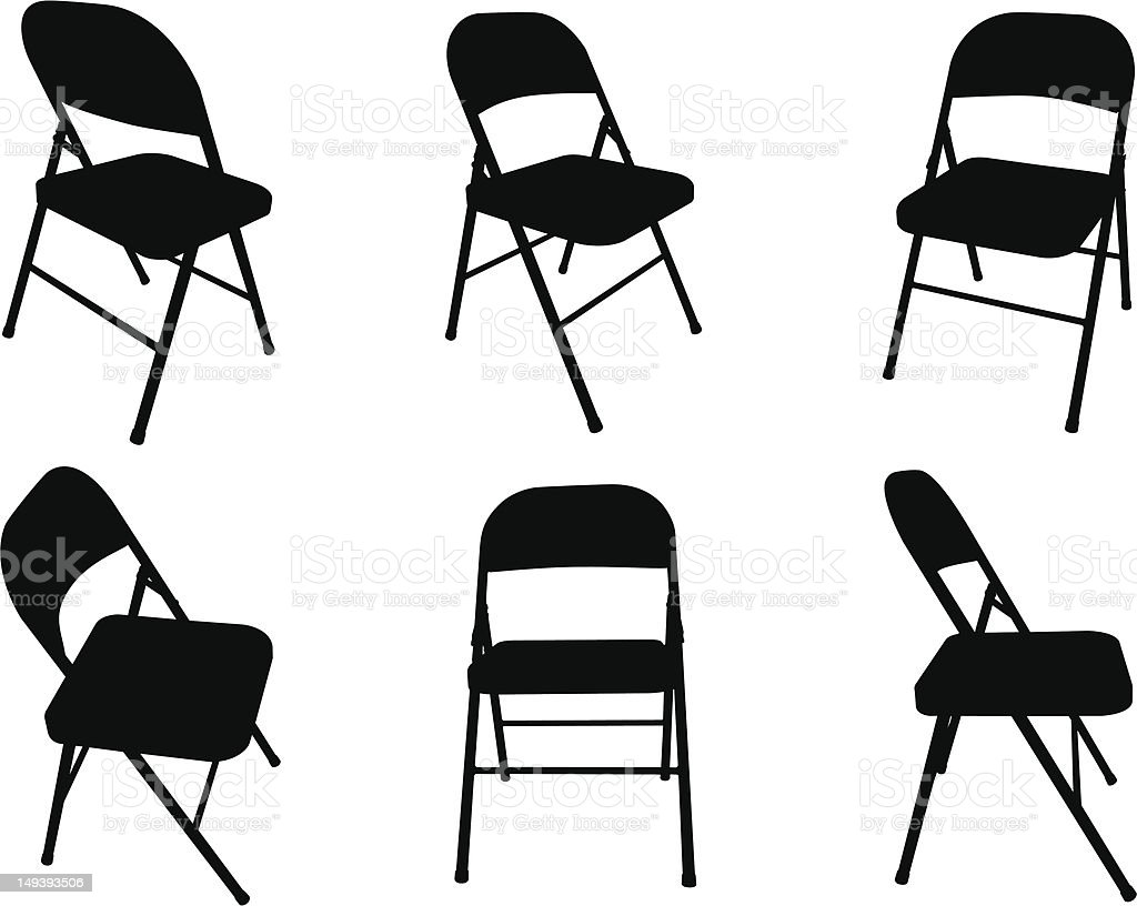 Fold Out Chair Silhouettes Vector Art Illustration