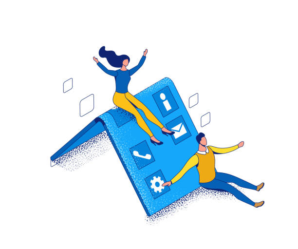 Foldable phone isometric concept with funny people using flexible smartphone, cartoon characters with futuristic gadgets, blue and yellow composition, 3d vector illustration vector art illustration