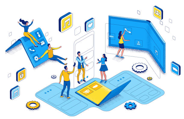 Foldable phone isometric concept with people using flexible smartphone, cartoon characters with futuristic gadgets, blue and yellow composition, 3d vector illustration vector art illustration