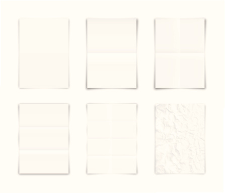 Folded and crumpled blank papers