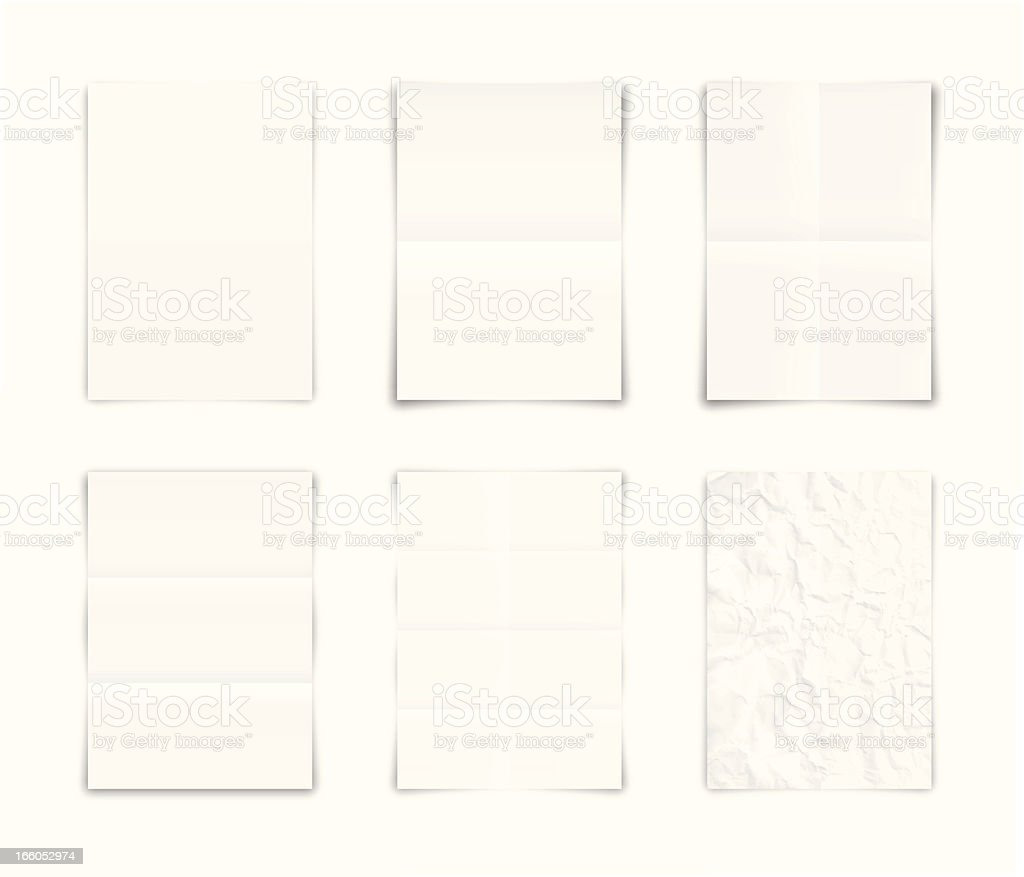 Folded and crumpled blank papers vector art illustration