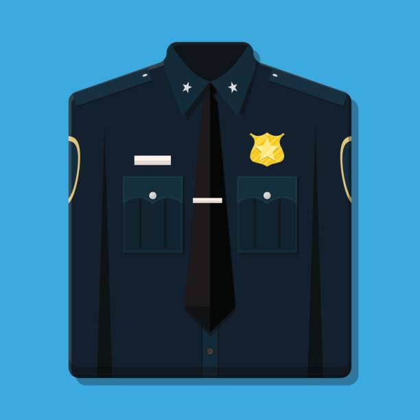 Folded blue policeman uniform with badge. Folded blue policeman uniform with badge. Vector illustration in flat style police uniform stock illustrations