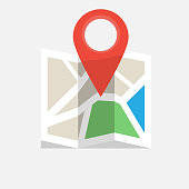 Folded colorful map icon with pin marker. Solid and Flat color style icon for your design. Vector illustration.
