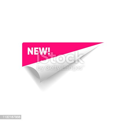 istock Folded corner vector, rolled paper sticker with new text sign isolated on white background clipart 1132187958
