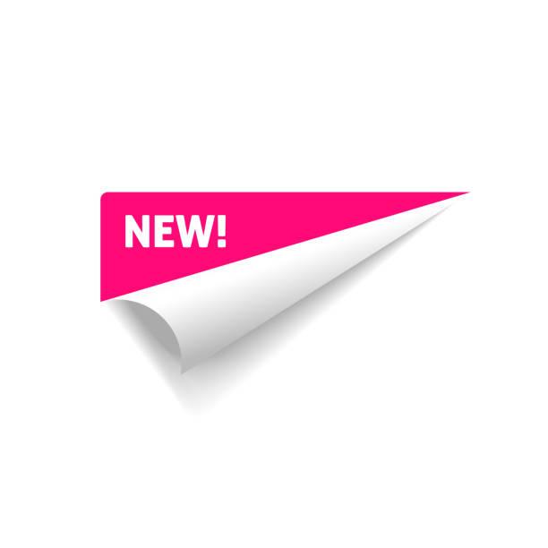 gefalteter eckvektor, gerollter papieraufkleber mit neuem textschild isoliert auf weißem hintergrund - buchseite stock-grafiken, -clipart, -cartoons und -symbole