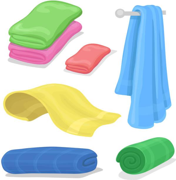 gefaltete baumwolle handtücher set. cartoon-handtuch für gesundheitswesen, bad und strand-symbol - waschküchendekorationen stock-grafiken, -clipart, -cartoons und -symbole