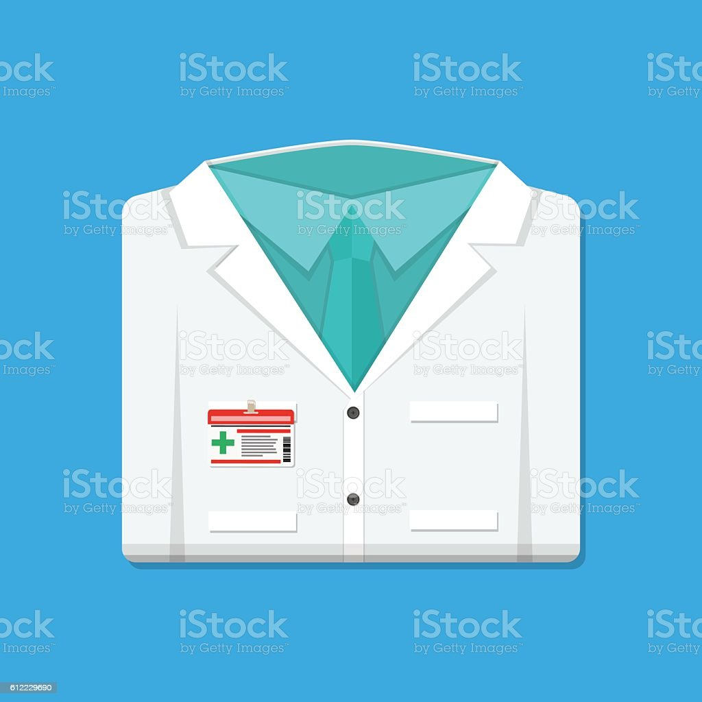 Folded doctors lab white coat with badge - ilustración de arte vectorial