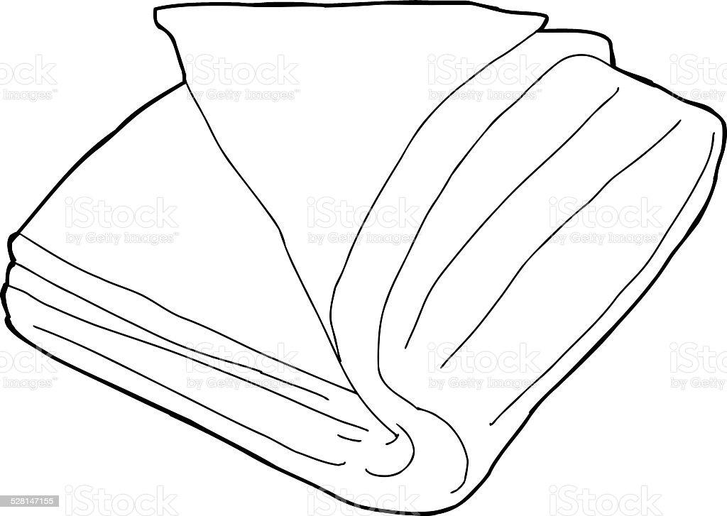 Folded Fabric Outline vector art illustration