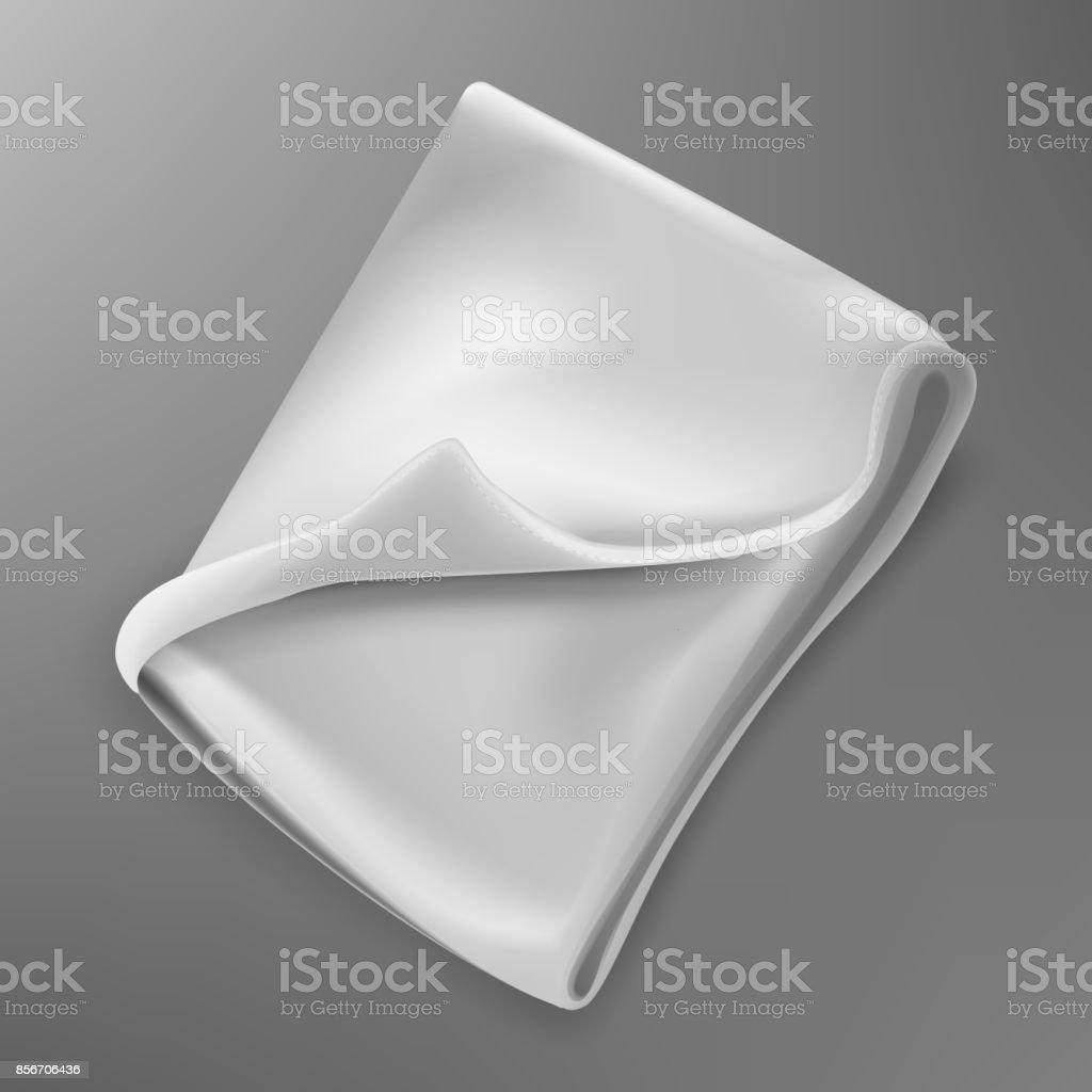 Folded fleece blanket vector art illustration
