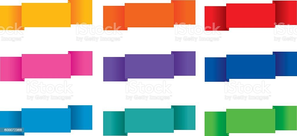 Folded labels 9 vector art illustration