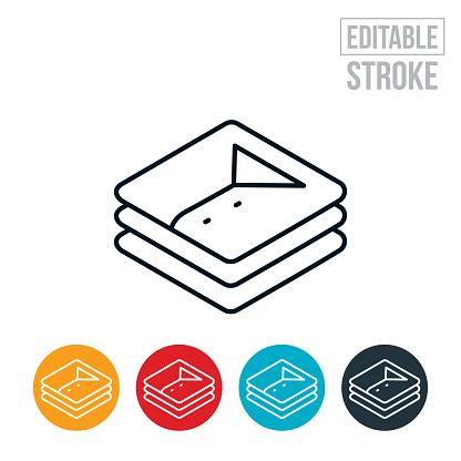 Folded Laundry Thin Line Icon - Editable Stroke