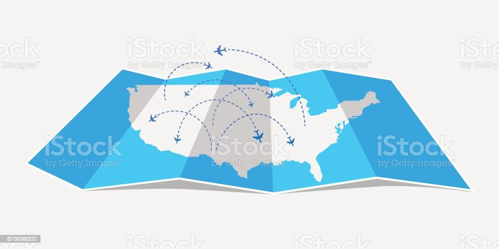Folded map United States of America with airplanes. vector art illustration
