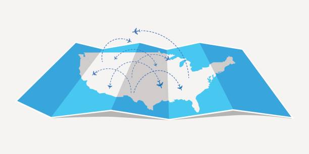 folded map united states of america with airplanes. - travel destinations stock illustrations