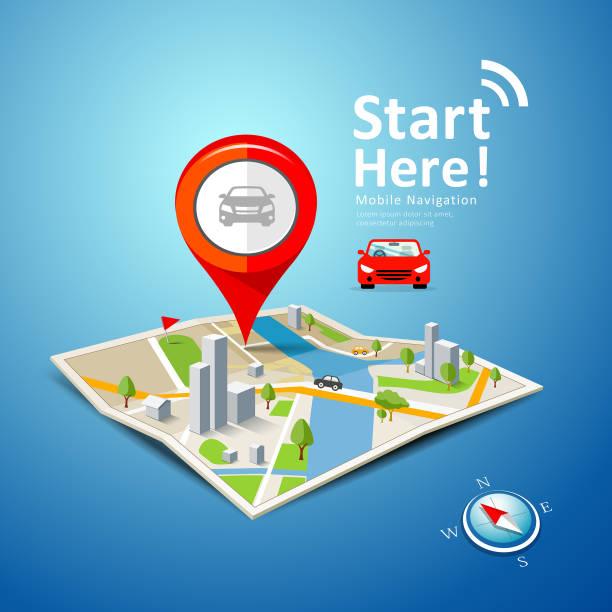 gefaltete karten auto-navigationsvektor mit roten farbpunktmarkierungen - karte navigationsinstrument stock-grafiken, -clipart, -cartoons und -symbole
