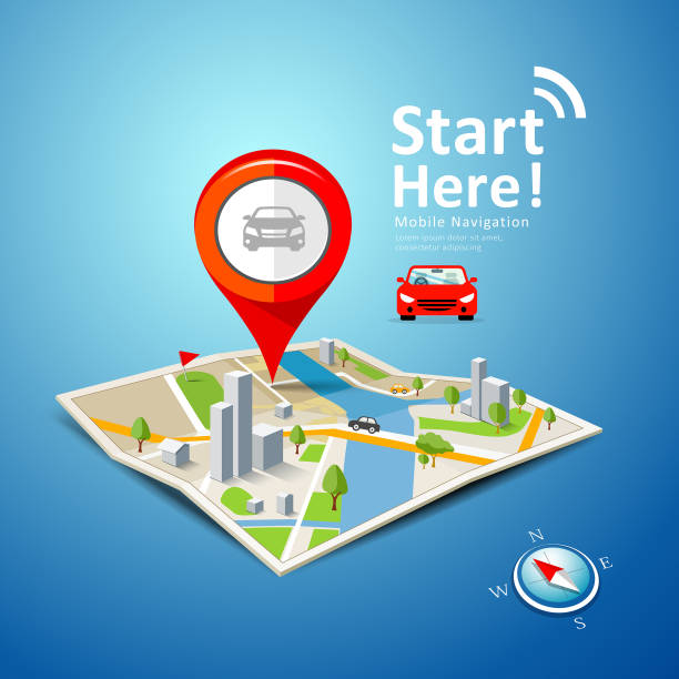 ilustrações de stock, clip art, desenhos animados e ícones de folded maps car navigation vector with red color point markers - ponto turístico