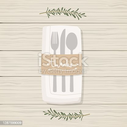 """istock Folded napkin with twigs, cutlery and brown paper with the lettering word: """"Thanks"""". Table set for Thanksgiving Day. Wooden table background. Vector illustration, flat design 1287599009"""