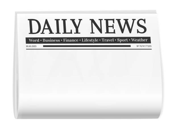 折疊式報紙。新聞頁面範本的背景為空。 - 報紙頭條 幅插畫檔、美工圖案、卡通及圖標