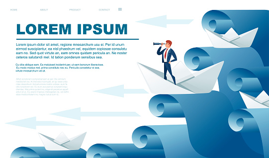 Folded paper boats with businessman look in spyglass on water waves following the leader abstract concept flat vector illustration