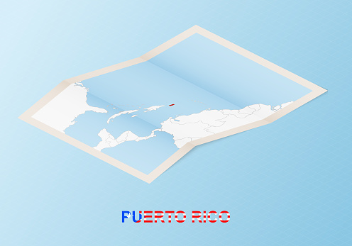 Folded paper map of Puerto Rico with neighboring countries in isometric style.