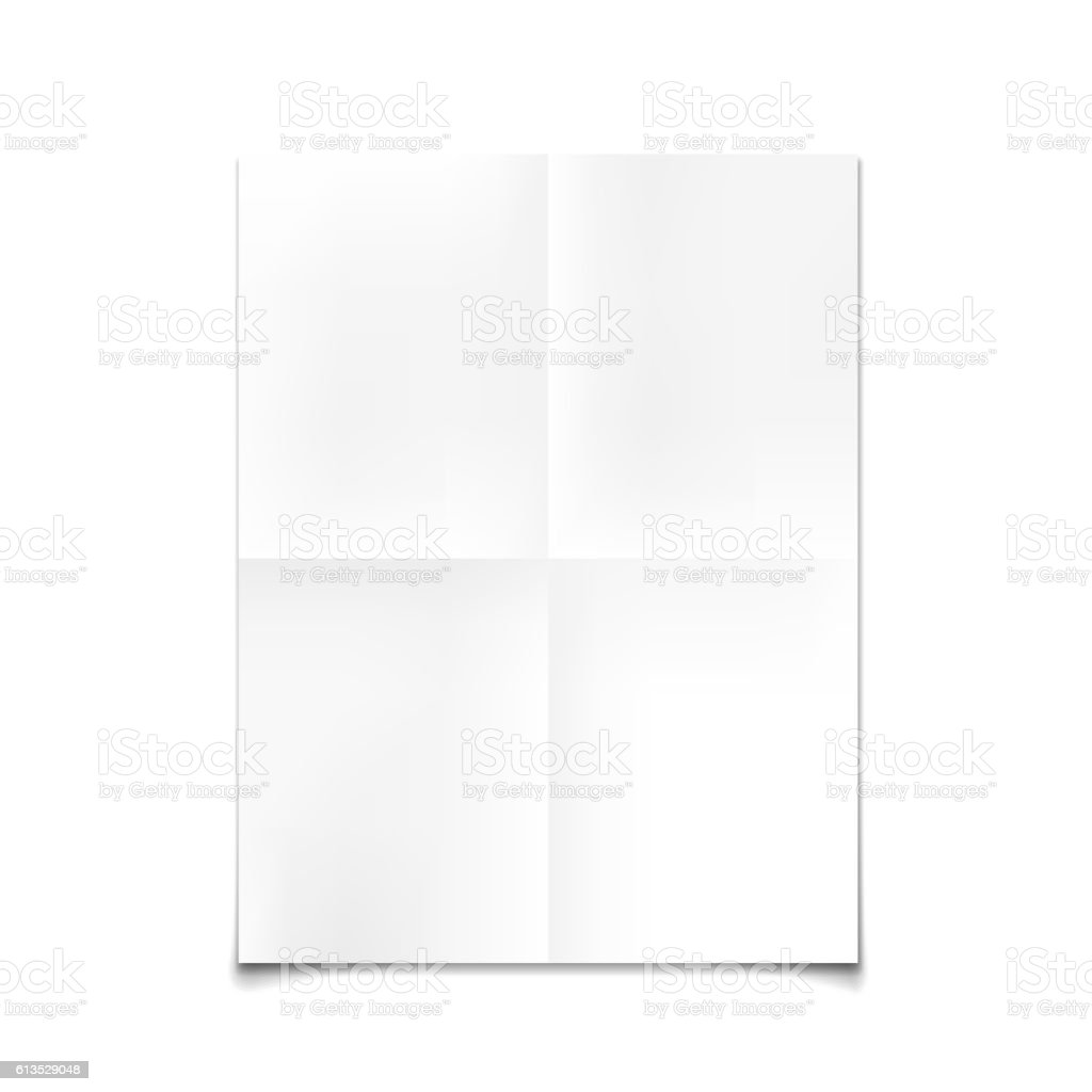 Folded paper mockup card isolated on white background