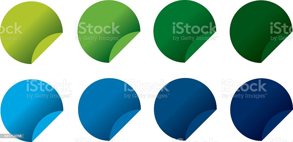 Folded round labels in ecologic colors royalty-free folded round labels in ecologic colors stock vector art & more images of blue