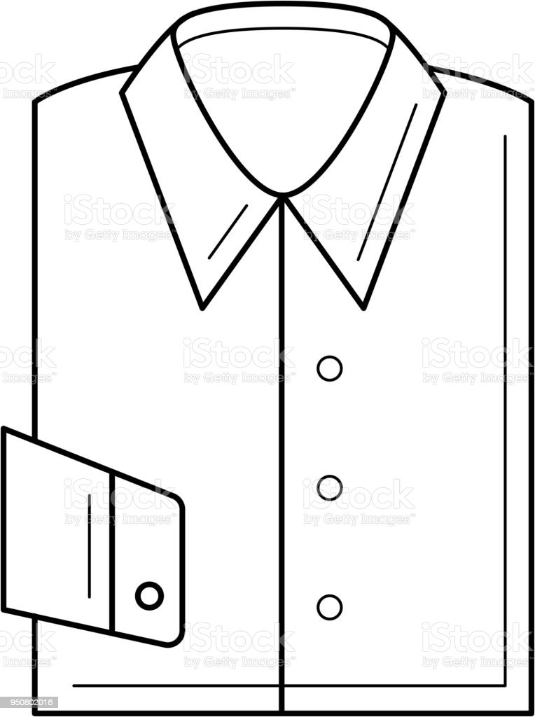Folded Shirt Vector Line Icon Stock Illustration - Download
