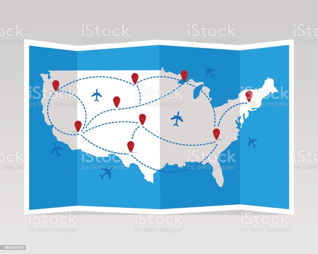 Folded travel map United States of America with airplanes. vector art illustration