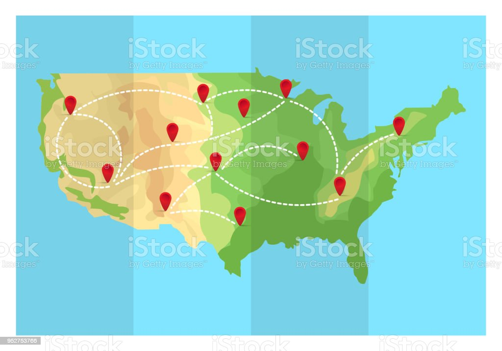 Map Of America Travel.Folded Travel Map United States Of America With Point